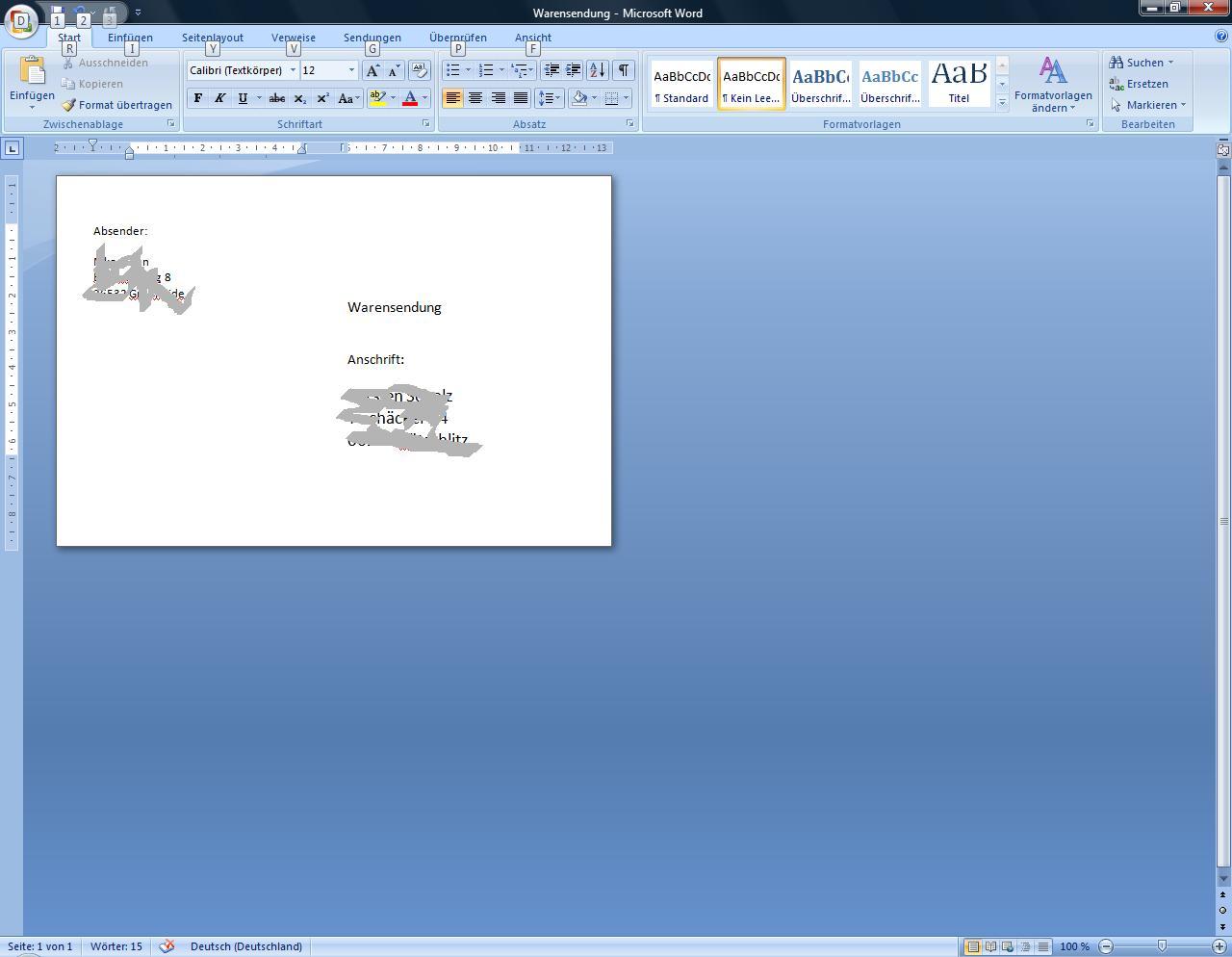 Wie schreibt man einen brief absender empfänger